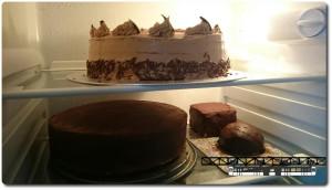 Mein Kühlschrank war sehr überfüllt mir den zwei Torten. Gut, dass eine Torte am nächsten Tag schon verputzt werden durfte.